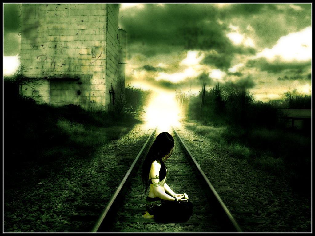 Girl on a rails and the train